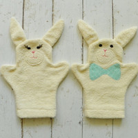 Bunny Terry Cloth Bath Mitts--Set of 2 (Size Small)