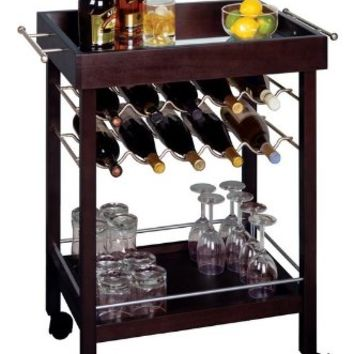 Kitchen Cart, Trolley with Wine Storage Rack and Table