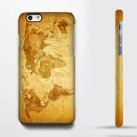 Retro Yellow World Map iPhone 6/6s Case iPhone 6/6s Plus Case iPhone 5c Galaxy S6 Edge Note 5 Case 086