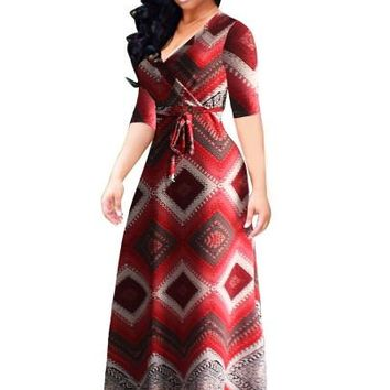 Red Plaid/Plus Size Half Sleeve Women's Maxi Dress