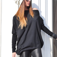 Plus Size Black Top / Oversized Asymmetrical Tunic / Maternity Clothing / Loose Casual Black Blouse / Long Sleeves Blouse / Off the Shoulder
