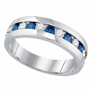 10kt White Gold Mens Round Blue Color Enhanced Diamond Band Ring 1.00 Cttw