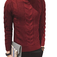 Cable Knit Turtleneck Slim Fit Pullover Sweater