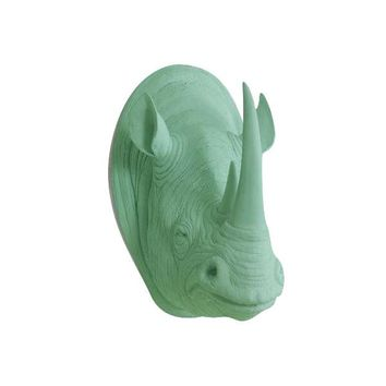 The Large Serengeti Mint Green Faux Taxidermy Resin Rhino Head Wall Mount | Mint Green Rhinoceros w/ Colored Horns