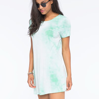 Full Tilt Tie Dye Shirt Dress Aqua  In Sizes