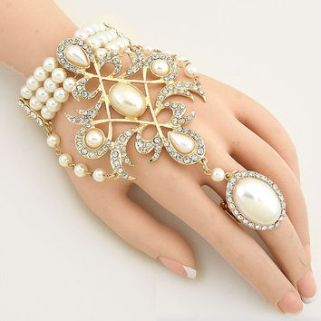 1920's Great Gatsby Inspired Queen Pearl Hand Chain Bracelet, Ring Bracelet, Finger Bracelet, Hand Chain Jewelry