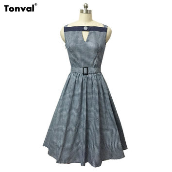 Tonval Plaid Rockabilly Women 50s Dress 2016 Summer Sexy V Neck Evening Vintage Party Elegant Tunic Belted Midi Swing Dresses