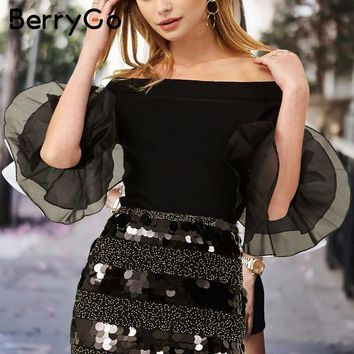 BerryGo Fluffy long sleeve knitted sweater women jumper 2017 pull femme knit shirt Off shoulder striped knitting pullover female
