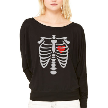till death do us part WOMEN'S FLOWY LONG SLEEVE OFF SHOULDER TEE