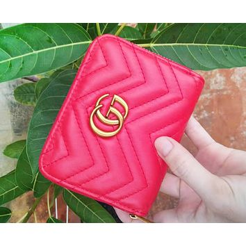 GUCCI Fashion New Popular Women Leather Simple Metal Zipper Purse Wallet Red