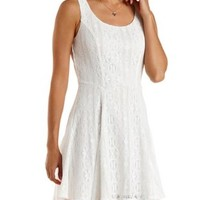 White Sleeveless Lace Skater Dress by Charlotte Russe