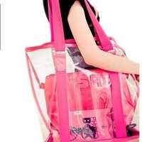 2017 fashion Transparent beach bag crystal jelly bag big shoulder bags travel bags 4 colors