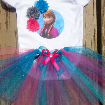 Anna Frozen Tutu Outfit - Disney Inspired - Personalized Frozen Birthday Outfit - Girls Anna Outfit