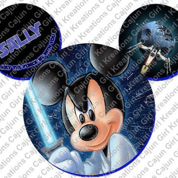 Jedi Force Be With You Mickey Mouse Head Disney World Personalized w/ Name/Date Printable Iron On Transfer DIY Instant Download