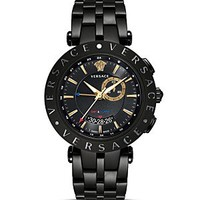 Versace V-Race GMT Alarm Stainless Steel and Black PVD Watch, 46mm | Bloomingdale's