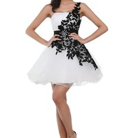 Ever Beauty One Shoulder Black and White Lace Short Homecoming Mini Prom Dress Closure Lace Up Back Size 10
