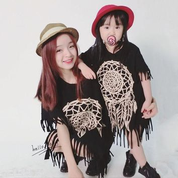 PEAPUNT 2016 spring and summer tassel skirt paternity Family Matching Outfits Mother And Daughter black wild fringed dress Free Shipping