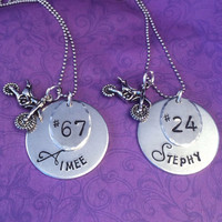 Ladies motocross necklace - personalized MX jewelry - dirt bike - custom gifts