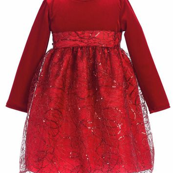 Red Corded Sequin Tulle Girls Holiday Dress w. Stretch Velvet Bodice 6M-10