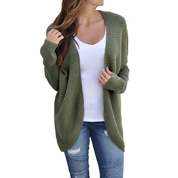 Army Green Ribbed Knit Lace Up Back Sweater Cardigan