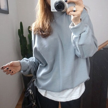 Sweatshirt Batwing Long Sleeve Sweatshirts For Women Pullover Womens Winter Jumpers Ladies Jumpers Plus Size XXL Oversize = 5613035649