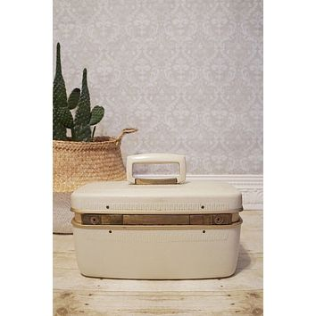 Vintage Train Case  Milk White Hard Luggage Case