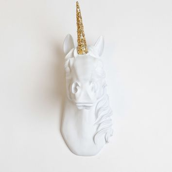 White Unicorn Head with Gold Glitter