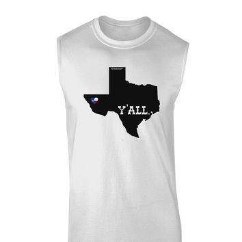 Texas State Y'all Design with Flag Heart Muscle Shirt  by TooLoud