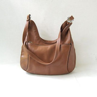 vintage leather purse. brown shoulder bag. crescent shaped purse.
