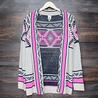 mod lightweight tribal cardigan in aztec pink