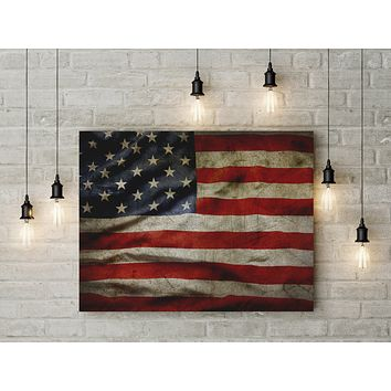 American Flag Canvas Wall Art Grunge Style American Flag