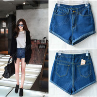 Women Retro Lady's Girls Denim High Waist Flange Blue Jean Shorts Pants hot