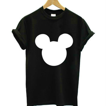 mouse head print Women tshirts Cotton Casual Funny T Shirt For Lady Top Tee Hipster black white Drop Ship Z-275