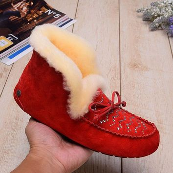 ESBON UGG 1014357 Tall Diamond Women Men Fashion Casual Wool Winter Snow Boots Red