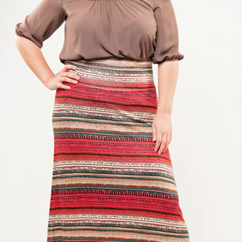 Ethnic Wood Work Maxi Skirt