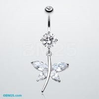 Dazzling Dangling Butterfly Belly Button Ring