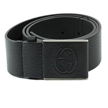 Gucci Men's Interlocking G Leather Belt 368188 4009 (Navy Blue, 38/95)