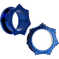 "3/4"" Blue PVD Filigree Frame Screw Fit Tunnel Plug Set"