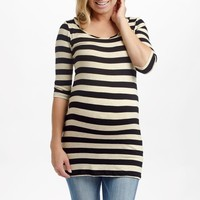 Beige Black Striped 3/4 Sleeve Fitted Maternity Top