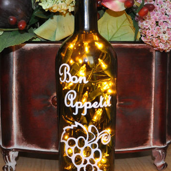 Bon Appetit Wine Bottle Lamp Recycled Home Decor by TipsyGLOWs