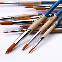 High Qualitty Nylon Hair Acrylic Paint Brush Set Head Wooden Handle Artists Gouache Watercolor oil Paint Brushes Art AHB028