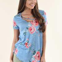 Blue Criss Cross Floral Top