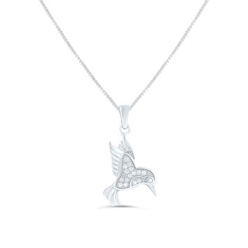 Sterling Silver Cz Hummingbird Necklace 18""