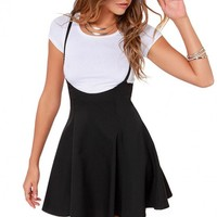 High Waist A-Line Skirt With Braces