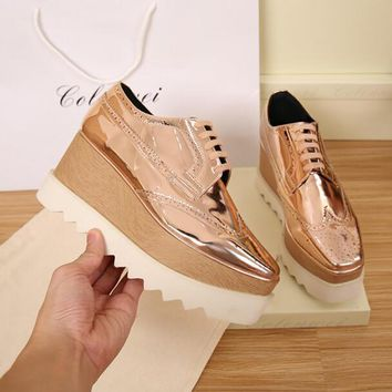 Fashion Online Stella Mccartney Style Rose Gold Lace Up Shoes