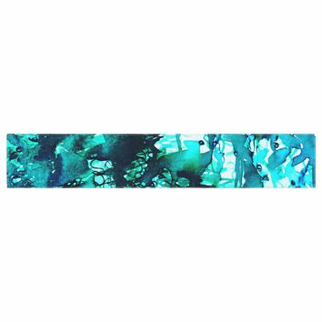 """Ebi Emporium """"The Perfect Storm - Turquoise"""" Blue Teal Painting Table Runner"""