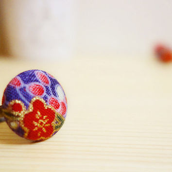 Ume Ring, Japanese plum blossom red purple cotton, covered button adjustable ring - MANGETSU -