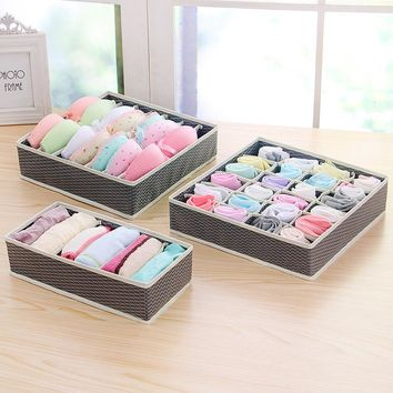 DINIWELL 5 Colors Home Storage Container Nonwoven Boxes Drawer Divider Lidded Closet Box For Ties Socks Bra Underwear Organizer