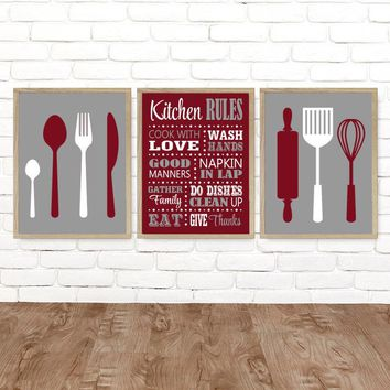 KITCHEN Rules Wall Art, Kitchen CANVAS or Print Kitchen Rules Dining Room Decor, Kitchen Utensils Spoon Fork Roller Wisk Decor, Set of 3