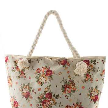 Floral Beach Tote in Ivory